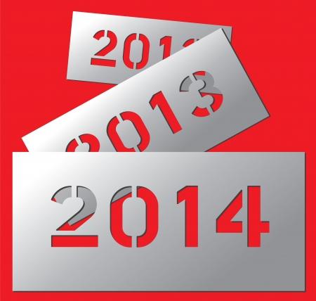 Vector New year metallic plate 2014
