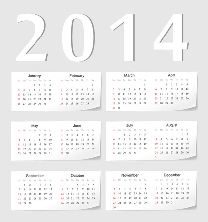 European 2014 vector calendar with shadow angles Vector