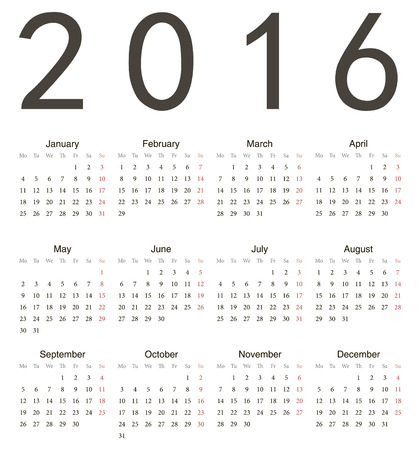 Simple european square 2016 year vector calendar. Week starts from Monday. Vector