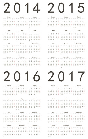 event planner: Set of european 2014, 2015, 2016, 2017 vector calendars. Week starts from Monday. Illustration