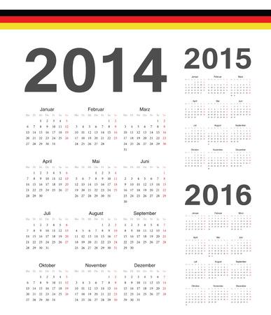 一連の簡単なドイツ語 2014、2015 年 2016 年カレンダーをベクトルします。週は月曜日から開始します。  イラスト・ベクター素材
