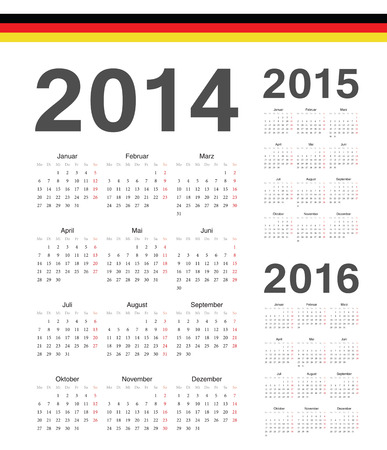 Set of simple german 2014, 2015, 2016 year vector calendars. Week starts from Mondays. Illusztráció