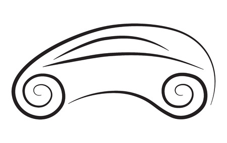 Vector silhouette of conceptual car with curly wheels Illustration