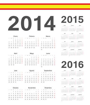 Set of simple spanish 2014, 2015, 2016 year vector calendars. Week starts from Mondays. Illustration