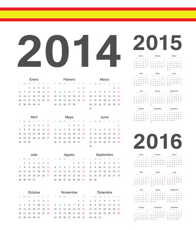 mondays: Set of simple spanish 2014, 2015, 2016 year vector calendars. Week starts from Mondays. Illustration
