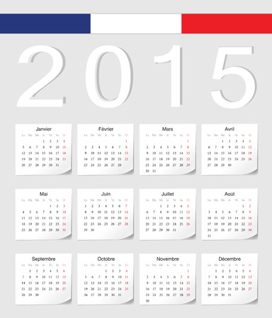 French 2015 vector calendar with shadow angles. Week starts from Monday. Illusztráció