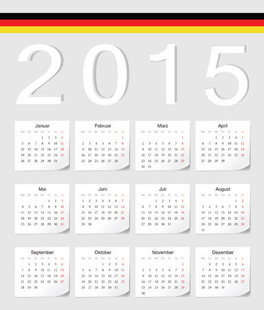 German 2015 vector calendar with shadow angles. Week starts from Monday. Vector