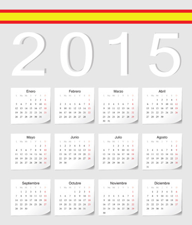 影の角度を持つスペイン語 2015年ベクトルカレンダー。週は月曜日から開始します。