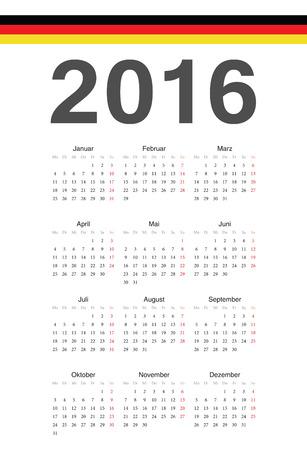 Simple german 2016 year vector calendar. Week starts from Monday