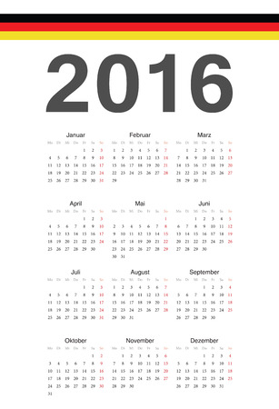 Simple german 2016 year vector calendar. Week starts from Monday