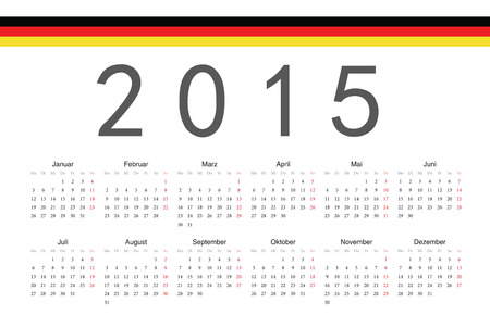 Simple German 2015 year vector calendar. Week starts from Monday. Vector