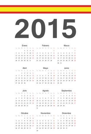 Simple spanish 2015 year vector calendar. Week starts from Monday. Illustration