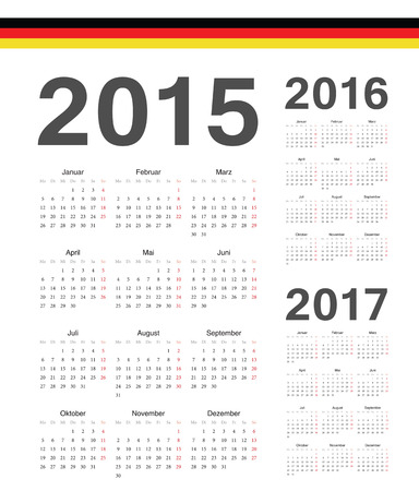 Set of simple German 2015, 2016, 2017 year vector calendars. Week starts from Mondays. Vector