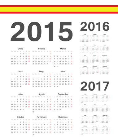 mondays: Set of simple Spanish 2015, 2016, 2017 year vector calendars. Week starts from Mondays.