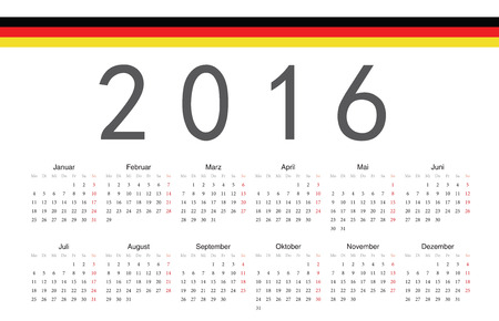Simple German 2016 year vector calendar. Week starts from Monday. Vector