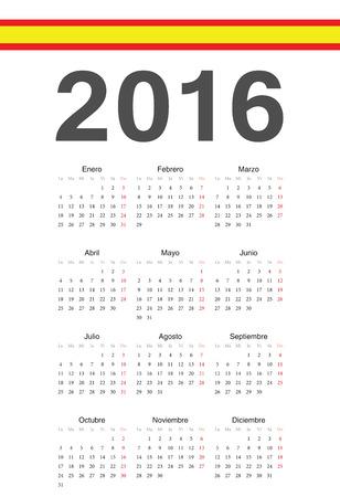Simple spanish 2016 year vector calendar. Week starts from Monday. Illustration