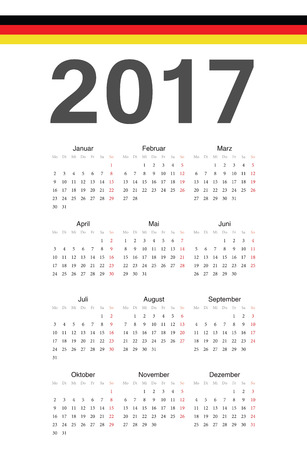 Simple German 2017 year vector calendar. Week starts from Monday. Vector
