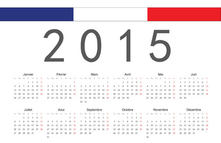 Simple French 2015 year vector calendar. Week starts from Monday. Vector