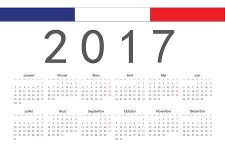 簡単なフランス語 2017 年ベクトルカレンダー。週は月曜日から始まります。