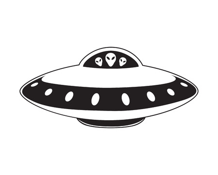 Abstract elemental vector illustration of flying saucer