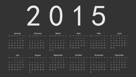 シンプルなブラック欧州 2015 年ベクトルカレンダー。週は月曜日から開始します。  イラスト・ベクター素材