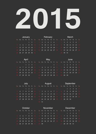 Simple black european 2015 year vector calendar. Week starts from Sunday. Vector