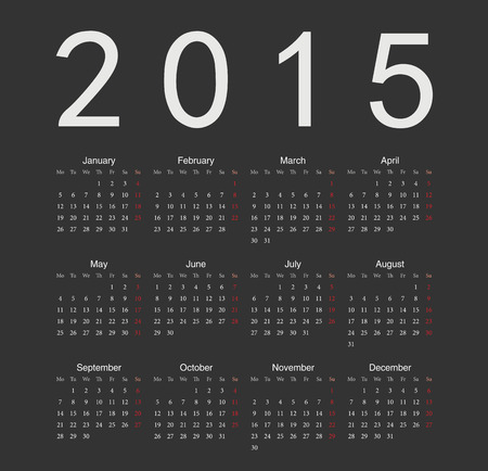 Simple black european 2015 year vector calendar. Week starts from Monday. Illustration