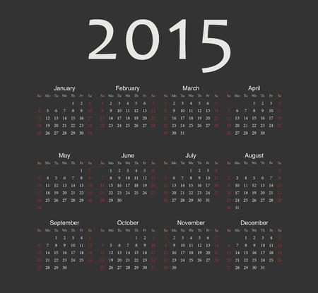 Simple black european 2015 year vector calendar. Week starts from Sunday. Vector