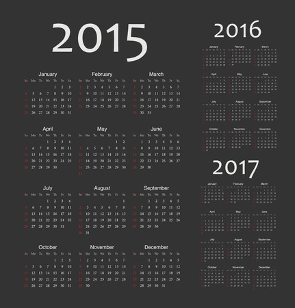 Set of black european 2015, 2016, 2017 year vector calendars. Week starts from Sunday. Vector