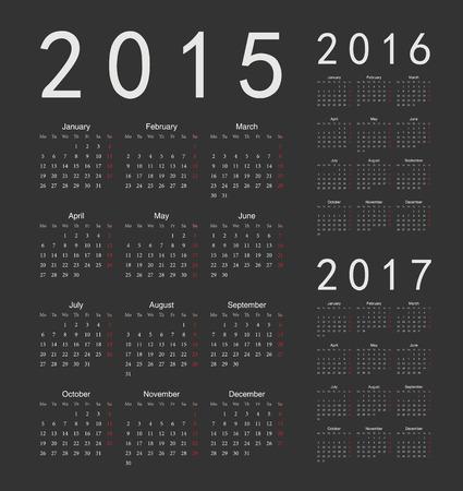 evropský: Sada Černá Evropská 2015, 2016, 2017 rok vektorová kalendáře. Týden začíná v pondělí. Ilustrace