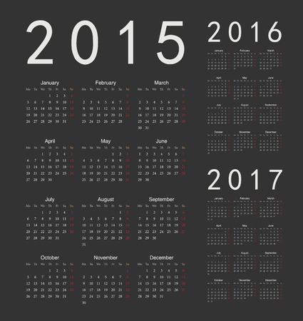 Set of black european 2015, 2016, 2017 year vector calendars. Week starts from Monday. Vector