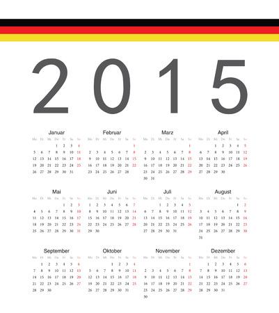 単純なドイツ 2015 年ベクトルカレンダー。週は月曜日から開始します。