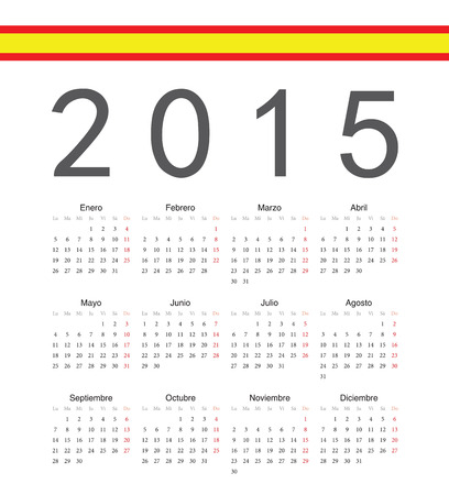 spainish: Simple spainish 2015 year vector calendar. Week starts from Monday.