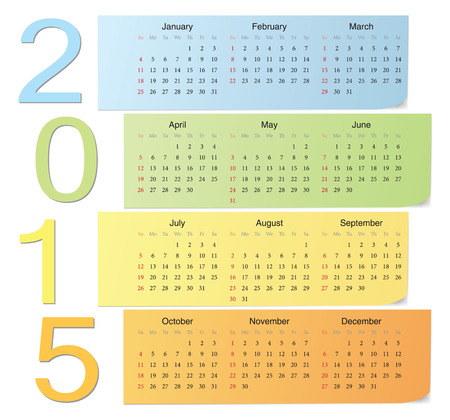European 2015 color vector calendar with vertical numbers. Week starts from Sunday. Vector