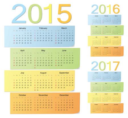 セット ヨーロッパ 2015 年 2016 年 2017年色ベクトル カレンダー。週は日曜日から始まります。  イラスト・ベクター素材