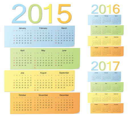 Set of european 2015, 2016, 2017 color vector calendars. Week starts from Sunday. Vector