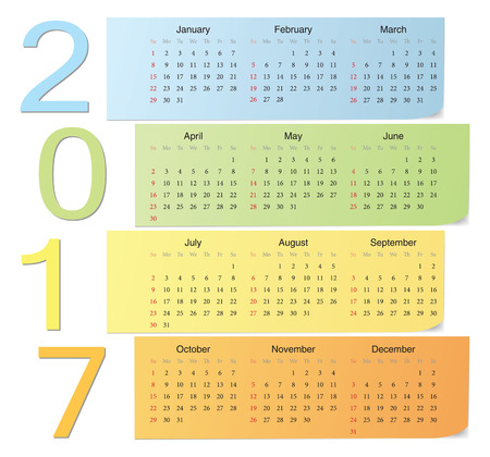 European 2017 color vector calendar with vertical numbers. Week starts from Sunday. Vector