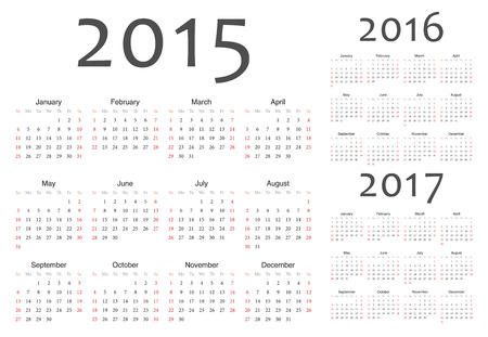 Set of european 2015, 2016, 2017 year vector calendars. Week starts from Sunday. Vector