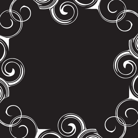 curle: Black and white pattern frame with curly waves. Illustration