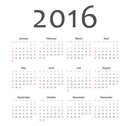 Simple european 2016 year vector calendar. Week starts from Sunday. Vector