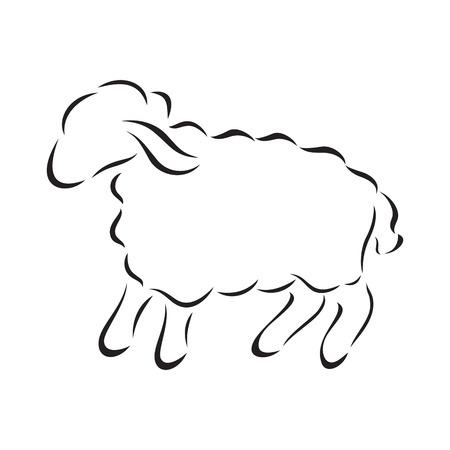 羊のベクトルの黒いシルエット  イラスト・ベクター素材