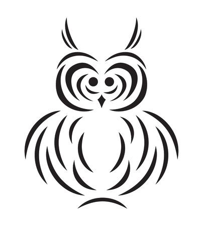 面白いフクロウのベクトル黒抽象的なシルエット  イラスト・ベクター素材