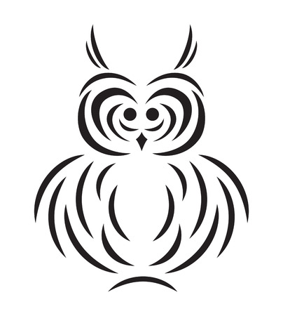 Vector black abstract silhouette of funny owl