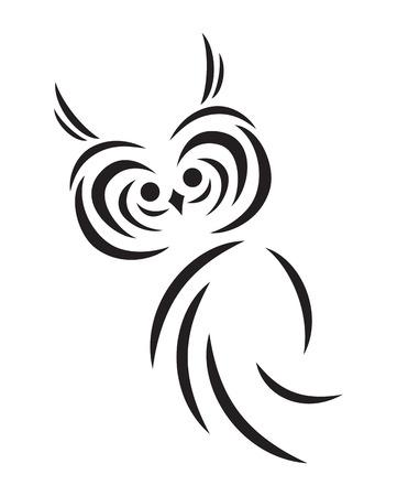 Vector silueta abstracta negro del búho divertido Vectores