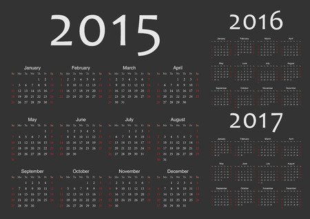 Set of black european 2015, 2016, 2017 year vector calendars  Week starts from Sunday  Vector