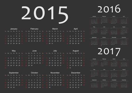Set of black european 2015, 2016, 2017 year vector calendars  Week starts from Sunday  Vector