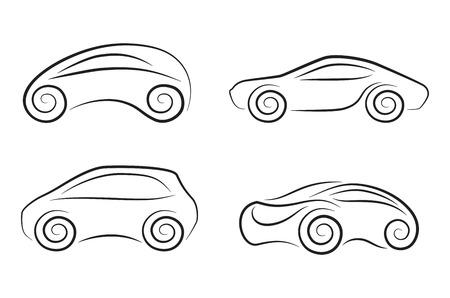 巻き毛の車輪を持つ概念車のベクトル シルエットのセット