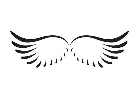 湾曲した天使の翼の黒の抽象的なシルエット