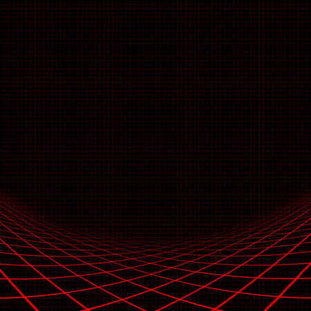 contortion: Illustration of background with red curvy grid Stock Photo