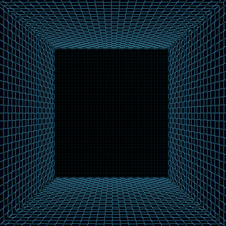 foursquare: Illustration of mystic tunnel with turquoise grid